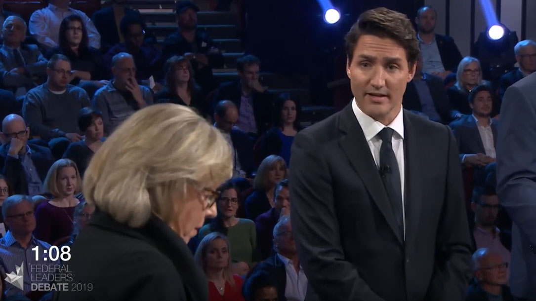 Elizabeth May debates household debt with Justin Trudeau