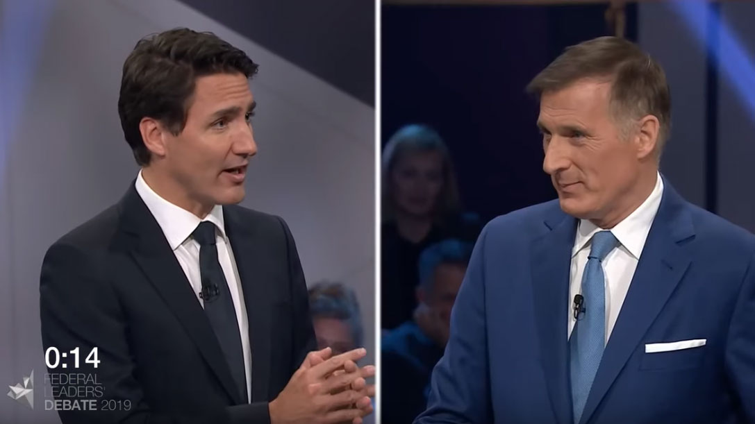 Justin Trudeau debates Maxime Bernier about pipelines vs. climate change